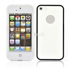 $4.20 Silica Gel Snap On Case Cover Skin for Apple iPhone 5 5G 5th White+Black