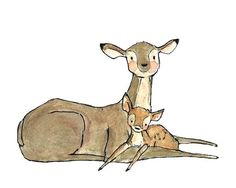Just enjoying one of those cozier moments. - art print from an original watercolor, gouache, and acrylic painting by Kit Chase. - archival matte paper and ink - horizontal print - ships worldwide fr Hirsch Illustration, Deer Illustration, Scrapbooking Image, Baby Deer, Baby Art, Woodland Creatures, Nursery Art, Cute Drawings, Cute Art