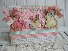shabby chic baby card BABY GIRL laundry by cherrysjubileecards