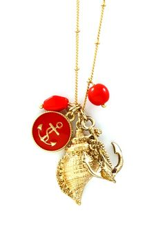 Nautical Necklace.  - I love this!! It would even be great in turquoise or navy