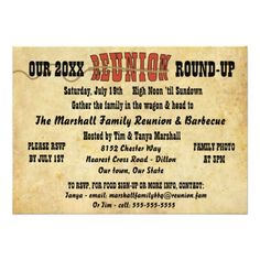 Shop Family Reunion Vintage Western Theme Invitation created by GenealogyGreetings. Class Reunion Invitations, Picnic Invitations, Vintage Invitations, Custom Invitations, Invitation Cards, Invites, Family Reunion Themes, Family Reunions, Westerns