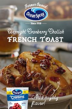 "Make your husband say ""Challahlujah!"" this Father's Day by getting your kids to help you make him this Overnight Cranberry Challah French Toast. What's For Breakfast, Breakfast Dishes, Breakfast Recipes, Challah French Toast, French Toast Bake, Brunch Dishes, Brunch Recipes, Brunch Ideas, Cranberry Recipes"