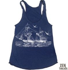 fb10cf7b5c2e2 Women s Vintage STEAMSHIP -hand screen printed Tri-Blend Racerback Tank Top  xs s m l xl xxl (+Colors)