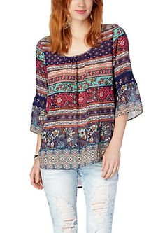 image of Turquoise Crochet Inset Gypsy Scoop Top