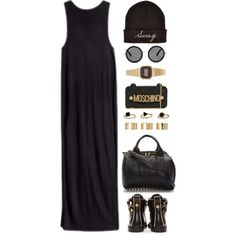Black and gold by endimanche on Polyvore featuring polyvore fashion style H&M Versace Alexander Wang Casio ASOS Topshop Moschino The Row
