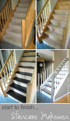 If you want to create change your stairs from carpet to wood, you can do it yourself! Learn how with our tutorial for a wood staircase makeover featured on Remodelaholic.com #staircases #stairmakeover #woodstaircases