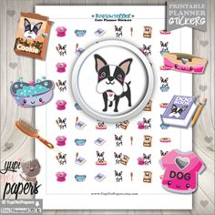 Dog Stickers, Planner Stickers, Kawaii Stickers, Planner Accessories, Boston Bull Terrier Stickers, Boston Bull Terrier, Planner Accesories