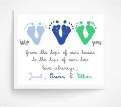 Father's Day Gift from Triplets, Children - Personalized Gift for Grandpa - We Love You Baby Footprint Art - Gift for Dad Mom, Grandfather
