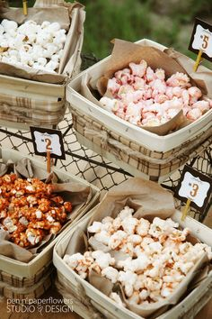 Why not have your popcorn bar flavors match your wedding colors? Yum! Follow more of this trend at http://www.arizonaweddings.com/