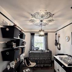 Our Black And White Baby Nursery Was Inspired By The Light Ing When We Purchased House This Fixture In