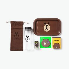 SNS #LINE FRIENDS #BROWN Bear Character Office Supplies Goods Set #LINEPLUS