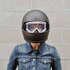 The Gringo Helmet and Moto Goggles from Biltwell are always a winning combo. If you're in the market for a new lid or some cool and safe eye protection check out what we have to offer in our helmet collection. Motorcycle Helmets For Sale, Motorcycle Riding Gear, Riding Helmets, Helmet Accessories, Full Face Helmets, Lifestyle Shop, 70s Fashion, Biker Style, Matte Black