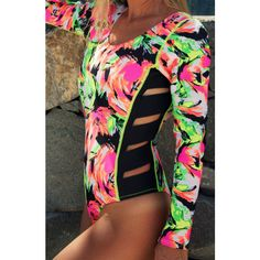 Neon Print Hollywood Fashion Wetsuit 1mm Neoprene Long Sleeve Open... ($60) ❤ liked on Polyvore featuring swimwear, dark olive, women's clothing, swim wear, polka dot swimwear, beach swim wear, slimming swim wear and dots swimwear