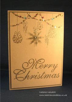 Card made with Stamps by Chloe Sparkling Baubles and Large Merry Christmas stamps Retro Christmas, Christmas 2016, Christmas Themes, Handmade Christmas, Christmas Crafts, Card Crafts, Paper Crafts, Xmas Cards To Make, Chloes Creative Cards