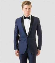2017 blue tailored Groom tuxedo terno masculino new Black shawl lapel wedding suits for mens 3 pieces men suit (jackets+Pants) Blue Suit Wedding, Wedding Suits, Wedding Attire, Wedding Tuxedos, Wedding Themes, Trendy Wedding, Rustic Wedding, Wedding Venues, Mens 3 Piece Suits