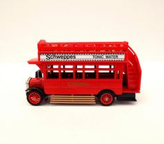 Matchbox Model London Bus, Models of Yesteryear, Miniature Red Bus, Lesney Products, S Type Omnibus Collectible, Schweppes Advertising