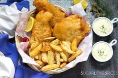 Beer Batter Fish and Chips and Homemade Tartar Sauce - SugarLoveSpices Homemade Tartar Sauce, Halibut Recipes, Beer Battered Fish, Slider Recipes, Best Comfort Food, Fish And Chips, Fried Fish, World Recipes, Fish Sauce