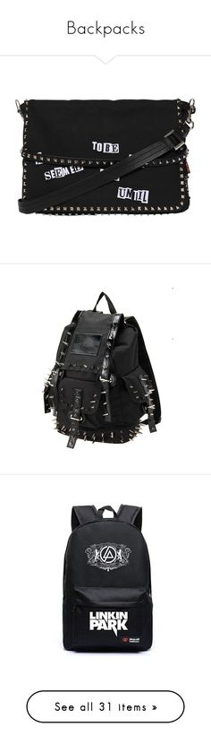 """""""Backpacks"""" by scene-bean ❤ liked on Polyvore featuring men's fashion, men's bags, men's messenger bags, bags, black, mens courier bag, mens messenger bag, mens canvas messenger bag, backpacks and accessories"""