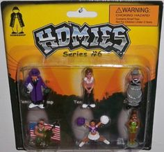 Homies Series #6 Carded Set 3 (Tennishoe Pimp, Teardrop, Sysco, Soljaboy, Brandy, Shaneequa) by A & A Global. $6.99. Good for Party. Collect all 4 carded.. 6 Figures are in one carded as shown in picture.. Homies Series 6 - 6 Figures. Tennishoe Pimp, Teardrop, Sysco, Soljaboy, Brandy, Shaneequa. Welcome to the world of the Homies! Collect the whole neighborhood, and the Homies will hang out in your Home! The Series 6 set features 24 figures in 4 separately carded sets....