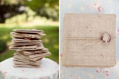 burlap invitations with cameo flair