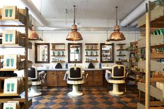 The World's 10 Coolest Barber Shops - - Why not get some style for your two bits? Barber Shop Interior, Barber Shop Decor, Hair Salon Interior, Interior Design Gallery, Salon Interior Design, Beauty Salon Design, Spa Design, Jack Black, Barber Poster