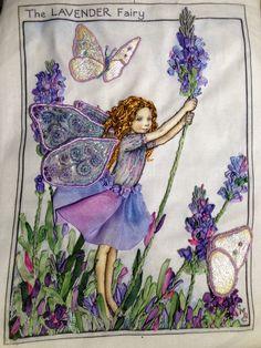 Lavender flower fairy, hand embroidery, stump work.  Silk ribbons, threads and beads. Trapunto.  Di Van Niekerk flower fairy design.