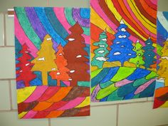 Warm and Cool color winter landscape, gr.4