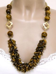 Tiger Eye Bead Cluster Handmade Necklace Gold Metallic Clover Accents, $39 | Double S Jewelry on ArtFire