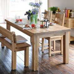 bench for dining room table | Solid Oak Large Bench Design Wooden Furniture With Backrest