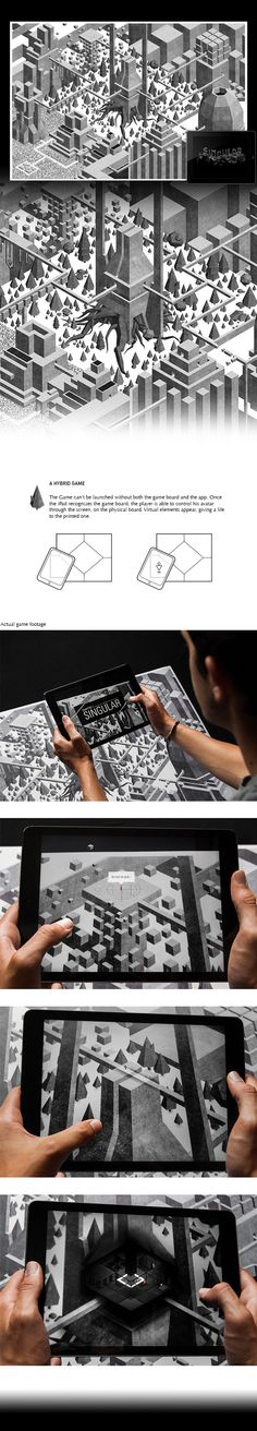 A brilliant game concept by Thomas Pomarelle. Using a combination of a real-life game board and an companion iPad app, players can discover and interact with a complex world through the lens of the tablet.