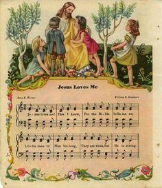 """Jesus Loves Me"" Hymn sheet music. We sang this in Sunday School every single week. Church Songs, Church Music, Then Sings My Soul, Christian Songs, Praise And Worship, Sunday Worship, Praise Songs, Religion, Jesus Loves Me"