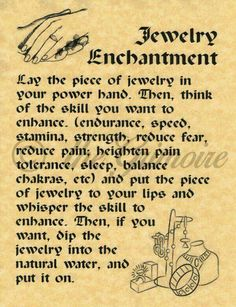 Jewelry Enchantment Spell, BOS Page, Real Witchcraft Spell for Book of Shadows in Collectibles, Religion & Spirituality, Wicca & Paganism Magick Spells, Wicca Witchcraft, Real Spells, Wiccan Witch, Money Spells, Witch Rituals, Luck Spells, Wiccan Art, Voodoo Spells