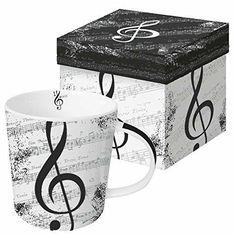 Paperproducts Design Gift Boxed Stoneware Mug 13.5 oz I Love Music Multicolor #PaperproductsDesign