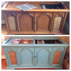 Vintage Record Player Painted With #cececaldwell Chalk And Clay Paint!  #beforeandafter #destingulfgreen