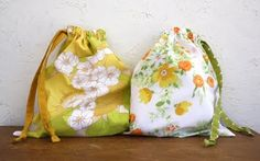 Drawstring Bags - I great upcycle idea for old linens.