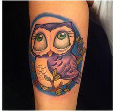 Purple Owl Cartoon Tattoo