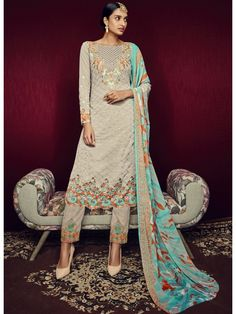 Grey And Skyblue #Embroidered Pant Style Suit    #salwarkameez #pakistanisalwarsuit #christmassale #christmasshopping #christmassale #happychristmas #christmasoffer #christmasdeals #christmas2016