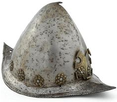 """Spanish morion (helmet) Spanish soldiers in the American Southwest wore pointed stell helmets, called """"morions"""", throughout the 1600's."""