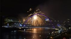 Fireworks were set off to unveil a Rugby World Cup 2015 emblem over the River Tyne in Newcastle, one of the 11 tournament host cities (GMT)