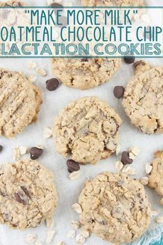 Oatmeal Chocolate Chip Lactation Cookies: bake up a batch of these delicious galactagogue-filled treats to boost milk supply for the breastfeeding moms in your life. {Bunsen Burner Bakery} via Boost Milk Supply, Increase Milk Supply, Breastfeeding Foods, Breastfeeding Support, Charlotte, Lactation Recipes, Easy Lactation Cookies, Foods For Lactation, Lactation Smoothie