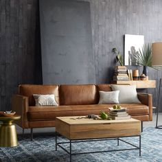 New apartment decorating living room brown leather sofas 32 ideas Brown Couch Living Room, Living Room Paint, Living Room Grey, Rugs In Living Room, Living Room Furniture, Urban Furniture, Grey Room, Furniture Ideas, Office Furniture