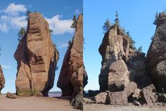 New Brunswick' s famed Elephant Rock collapses in a pile of rubble: Part of one of the most popular of the Flowerpot formations in New Brunswick has collapsed in a massive pile of rubble. Hopewell Rocks, Toronto Star, New Brunswick, Rock Formations, Natural History, Mount Rushmore, Elephant, Cinema, Mountains