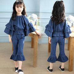 Girl clothes Denim Suit Spring Pants Jeans Suit Children clothing sets Leisure kids Sports Denim Suit Girl Long Sleeve and Pant