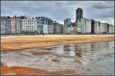 Rainy day on the North Sea beach in Oostende, Belgium