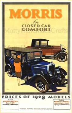 Morris Cars Vintage Illustration 1930s Art Deco Large Print - Advertising Poster (Art Deco or deco, is an eclectic artistic and design style that began in Paris in the 1920s and flourished internationally throughout the 1930s and into the World War II era.The style influenced all areas of design, including architecture and interior design, industrial design, fashion and jewelry, as well as the visual arts such as painting, graphic arts and film)