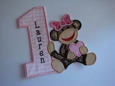 Sock Monkey Girl Birthday Number