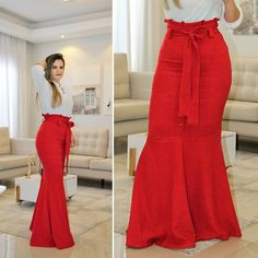 Red High Waisted Skirt, Crop Top And High Waisted Shorts, Fashion Pants, Hijab Fashion, Red Skirt Outfits, Best African Dresses, Business Casual Outfits, Classy Dress, Designer Dresses