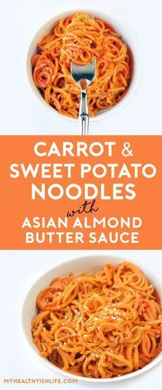 Make yourself healthier version of pad-thai with these carrot and sweet potato noodles covered with an asian almond butter sauce. Paleo, gluten free, vegan.