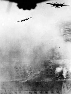 Mosquito bombers during the successful attack on Gestapo HQ in Copenhagen on 31st October.
