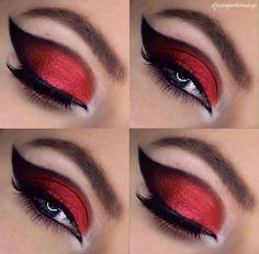 vampire eye makeup halloween * eye makeup for vampire Makeup Eye Looks, Eye Makeup Art, Goth Makeup, Dark Makeup, Eyeshadow Makeup, Skull Makeup, Makeup Geek, Jester Makeup, Devil Makeup